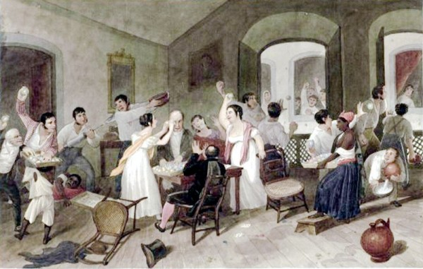 "Esta pintura de Augustus Earle, de 1822, retrata as brincadeiras do ""entrudo"". (imagem: Wikimedia Commons)"